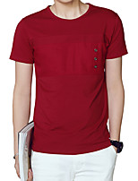 Men's Plus Size Casual/Daily Beach Simple Street chic Active Summer T-shirt,Solid Round Neck Short Sleeve Cotton Spandex Thin Medium