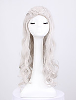 Long Grey Color Body Wave Wig For Women Heat Resistant Cosplay Synthetic Wigs