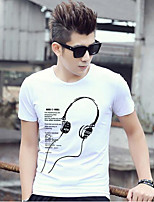 Men's Casual/Daily Simple T-shirt,Print Round Neck Short Sleeve Cotton