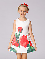 Girl's Going out Casual/Daily Party/Cocktail Solid Floral Embroidered Dress,Polyester Blended Cotton All Seasons Sleeveless