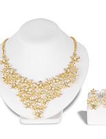 Schmuckset Halskette Ohrringe Set Modisch Euramerican Strass Aleación Blumenform 1 Halskette 1 Paar Ohrringe FürHochzeit Party Besondere