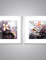 Canvas Prints Abstract Flower Painting Picture Print on Canvas with White Frame Lotus Canvas Art for Livingroom Decoration