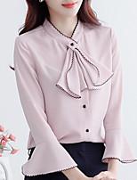 Для женщин На выход На каждый день Весна Лето Рубашка Воротник-стойка,Простое Однотонный Длинный рукав,Полиэстер,Средняя
