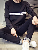 Men's Casual/Daily Sweatshirt Letter Round Neck Micro-elastic Polyester Long Sleeve Spring