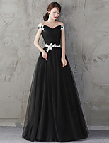 Formal Evening Dress A-line Off-the-shoulder Floor-length Tulle with Lace Sash / Ribbon