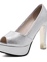 Черный Серебряный-Для женщин-Для офиса Для праздника Для вечеринки / ужина-Полиуретан-На толстом каблуке-клуб Обувь-Обувь на каблуках