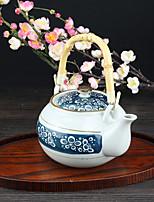 Japanese High Temperature Porcelain Teapot with Vintage Dark Blue Bubble Design