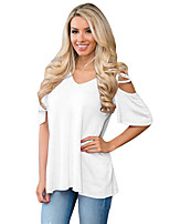 Women's Going out Beach Holiday Simple Summer T-shirt,Solid V Neck ½ Length Sleeve Polyester Spandex Medium