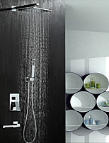 Contemporary Shower System Rain Shower Widespread Handshower Included with  Ceramic Valve Two Handles Five Holes for  Chrome , Shower