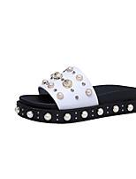 Feminino-Rasos-Creepers Sapatos clube-Rasteiro-Branco Preto-Couro Ecológico-Ar-Livre Casual
