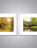 Lonas Estampadas com Moldura Paisagem Floral/Botânico Moderno Realismo,2 Painéis Tela Quadrangular Impressão artística Decoração de Parede