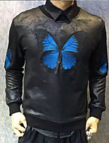 Sweatshirt Homme Décontracté / Quotidien Léopard Col Arrondi Non Elastique Polyuréthane Manches Longues Automne