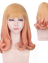 Lolita Cosplay Hair Anime Daily Synthetic Wig Heat Resistant Middle Length with Bang Lovely Natural Orange Color Mixed Yellow Wave Hair