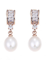 Lureme Luxury Cubic Zircon with Freshwater Pearl Drop Earrings for Women and Girls