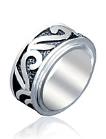 Ring Euramerican Titanium Steel Round Silver Jewelry For Daily 1pc