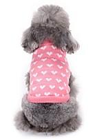 Коты Собаки Свитера Одежда для собак Зима Сердца Мода На каждый день Розовый