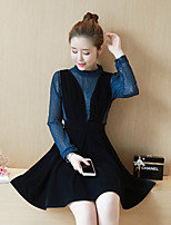 Women's Going out Casual/Daily Simple Spring Blouse Dress Suits,Solid Crew Neck Long Sleeve Lace Cotton Micro-elastic