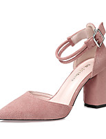 Women's Heels Spring Summer Comfort Suede Dress Chunky Heel Buckle Khaki Blushing Pink Gray Black