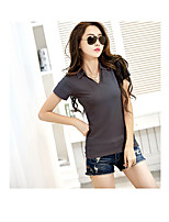 Women's Casual/Daily Simple Summer T-shirt,Solid Shirt Collar Short Sleeve Cotton Thin