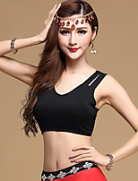 Belly Dance Tops Women's Training Modal 1 Piece Dance Costumes Solid Backless Sleeveless Top Black