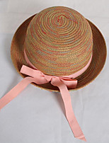 Women 's Summer Bow Knot Colorful Ribbon Hat Curling Beach Straw Hat