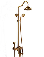 Antique Centerset Rain Shower with  Ceramic Valve Single Handle Three Holes for  Antique Copper , Shower Faucet