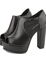 Femme-Décontracté-Noir titane-Gros Talon-A Bride Arrière-Chaussures à Talons-Polyuréthane
