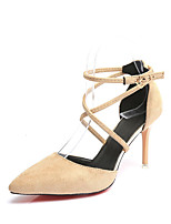 Women's Sandals Summer T-Strap Fleece Outdoor Party & Evening Dress Stiletto Heel Buckle Walking