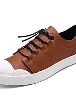 Черный Серый Желтый-Для мужчин-Для прогулок Повседневный-Кожа-На плоской подошве-Светодиодные подошвы Удобная обувь-Кеды