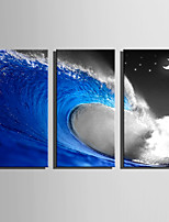 E-HOME Stretched Canvas Art Waves in The Night Decoration Painting Set Of 3