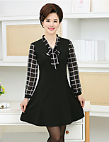 Sign 2017 spring Korean version of the middle-aged mom big yards decorated body was thin chiffon print dress women