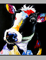 Hand-Painted Abstract Animal The black  Cow Modern One Panel Canvas Oil Painting For Home Decoration