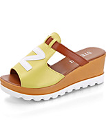 Women's Sandals Summer Mary Jane Leatherette Outdoor Dress Casual Wedge Heel Split Joint Walking