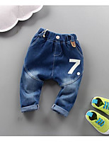Unissex Jeans Casual Cor Única Primavera