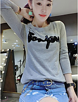 Women's Casual/Daily Simple T-shirt,Solid Round Neck Long Sleeve Cotton Thin