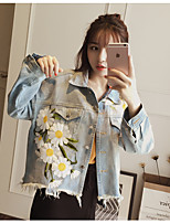 Women's Casual/Daily Cute Spring Summer Denim Jacket,Floral Solid Shirt Collar ½ Length Sleeve Short Cotton