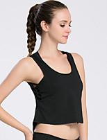 Mulheres Sem Mangas Corrida Blusas Respirável Secagem Rápida Primavera Verão Outono Moda Esportiva Exercício e Atividade Física Terylene