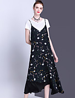 ALLA ONER Women's Going out Casual/Daily Holiday Cute Loose Swing Dress,Floral Strap Midi Sleeveless Polyester Summer Mid Rise Inelastic Medium