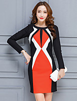 Women's Going out Casual/Daily Sheath Dress,Color Block Round Neck Above Knee Long Sleeve Rayon Polyester Spring Fall Mid Rise Inelastic