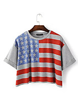 2016 summer new Europe, the United States and American flag printed loose street wild short paragraph lo shi T-shirts