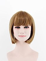 Europe and the United States fashion ladies light brown Straight Bangs short hair high temperature silk breathable wig