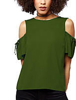 Women's Plus Size Going out Casual/Daily Simple Off-The-Shoulder Chiffion All Match Street chic Summer Fall T-shirtSolid Round Neck Short Sleeve