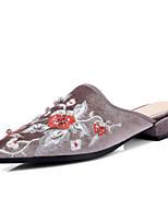 Women's Slippers & Flip-Flops Summer Fall Embroidered Shoes Fleece Dress Casual Low Heel Flower