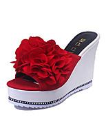 Damen-Slippers & Flip-Flops-Lässig-Stoff-Keilabsatz-Fersenriemen-Schwarz Rot Grün