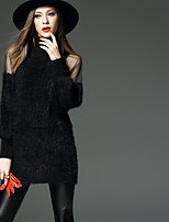 Women's Casual/Daily Simple Street chic Regular Pullover,Solid Crew Neck Long Sleeve Cotton Fall Winter Medium Micro-elastic