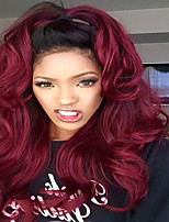 Dark Wine 99j Ombre Glueless Human Virgin Hair Lace Wigs With Baby Hair Deep Wave Human Hair Lace Wigs