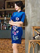 Moulante Robe Femme Sortie Décontracté / QuotidienCouleur Pleine Mao Asymétrique ½ Manches Acrylique Printemps Eté Taille Haute