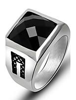 Кольцо Квадрат Титановая сталь В форме цветка Черный Красный Бижутерия Для Повседневные 1шт