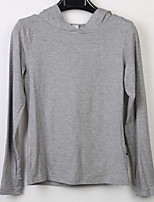 Women's Casual/Daily Active T-shirt,Solid Hooded Long Sleeve Cotton
