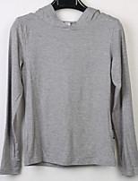 Tee-shirt Femme,Couleur Pleine Décontracté / Quotidien Actif Manches Longues Capuche Coton